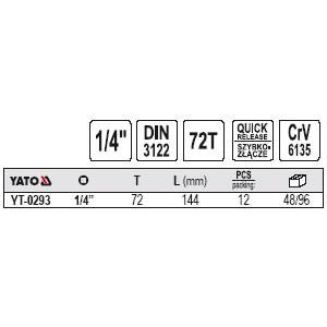 YATO YT-0293. Трещетка 1/4, 144мм.